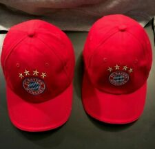 USED LOT OF (2) FC BAYERN MUNCHEN HATS RED ADJUSTABLE SIZE! SOCCER!!