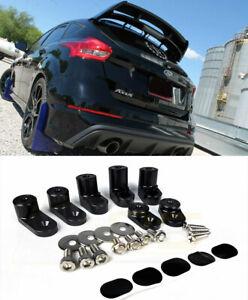 For 13-Up Ford Focus ST Hatchback Wing Black Riser Raiser Kit Rear Spoiler Lip