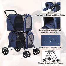Folding 4 Wheels Pet Stroller Small Medium 2 Dogs Cats Carrier Strolling Blue Us
