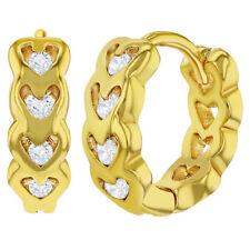 18k Gold Plated Heart Shaped Openwork Clear CZ Huggie Girls Teens Earrings