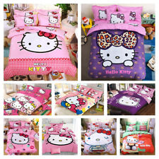 Cute Cartoon Hello Kitty Cat Duvet Covers Set Bed Flat Sheet PillowCases Bedding