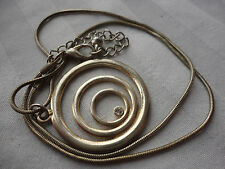 Beautiful deco spiral moons crystal pendant 9gram goldplated snakechain necklace
