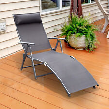Outsunny Sun Lounger Recliner Foldable 5 Levels Textilene Grey Patio