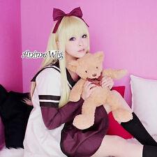 YuruYuri Toshinou kyoko Light Blonde Long 80CM Anime Cosplay Wig + Free Cap