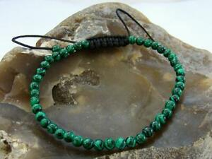 Gemstone Men's Women's Macrame Beaded Bracelet 4mm Malachite beads