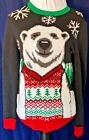 UGLY CHRISTMAS SWEATER BLACK MEN'S SMALL WITH POLAR BEAR WEARING VEST