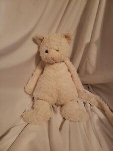 "Jellycat White KITTY CAT 14"" Bunglie Plush Long Tail Floppy EUC plush"