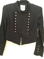 BB Dakota Women's Black Cropped Military Inspired Jacket Band Steampunk L NWT's