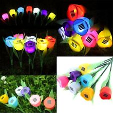 5Pcs LED Light Solar Powered Tulip Flower Yard Garden Path  Decor Landscape Lamp