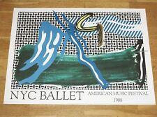 """ROY LICHTENSTEIN POSTER """" NYC BALLET """" AMERICAN MUSIC FESTIVAL 1988 in MINT"""