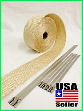 "Thermal Header Pipe Tape TAN HIGH TEMP Exhaust Wrap 2""x 25ft Stainless Lock Ties"