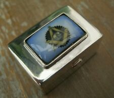 English Hallmarked Sterling Silver & Enamel Masonic Snuff / Box / Vinaigrette