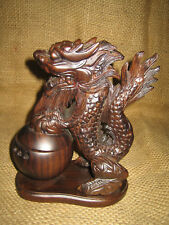 Asian Dragon Incense Burner - Dark Wood Cone Stick Holder w Backflow