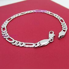 Girl Women Real Solid 18k White Gold GF Figaro Bracelet Bangle Ring Chain Clasp