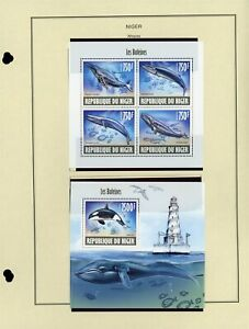 NIGER MNH Minisheets: Yvert #2086-2089 & Block #228 Whales Marine FAUNA CV€31+