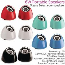 6W Mini Portable Laptop/PC/Tablet Speaker Kit – USB/AUX 2.0 Stereo Active Sound