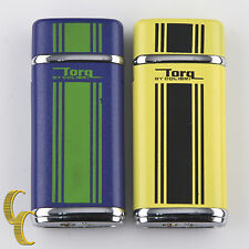 Pair of Colibri Torq Gas Yellow/Black & Blue/Green Striped Metal Lighters