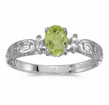Genuine Peridot and Diamond Victorian Style Band 10K White Gold Ring