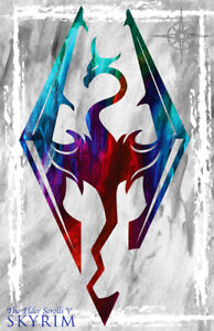 Skyrim Dragon Gamer Art 11 x 17 High Quality Poster