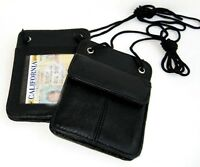 Set of 2 Genuine Leather ID Card  Wallet Neck Strap Pouch Badge Holder