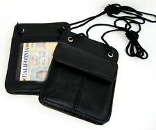 Set of 2  Genuine Leather ID CARD Holder Wallet Neck Strap Pouch Wallet