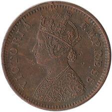 1895 India (British) 1/2 Pice Error Coin Multiple Die Cracks KM#484