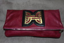 STYLISH CRANBERRY PURE LEATHER LARGE DESIGNER SIGNED HEIRLOOM CLUTCH BAG