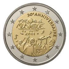 """2011 France 2 Euro Uncirculated Coin """"Music Festival Fete de la Musique 30 Yrs"""""""