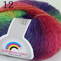 Sale Soft Cashmere Wool Colorful Rainbow Wrap Shawl DIY Hand Knit Yarn 50gr 12