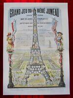 Ancien Fac-Similé Grand Jeu de l'Oie Bébé Jumeau,Ascension la Tour EIFFEL 1889.