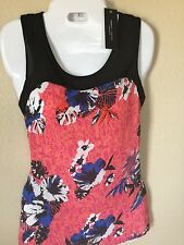 Romeo Juliet Couture Tank Top Zip Back Black Pink Blue Floral Sleeveless  M NEW