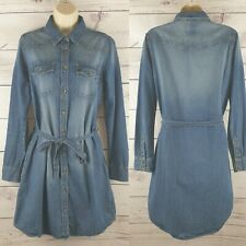 Next Womens Denim Long Sleeve Shirt Dress with Pockets Size 12