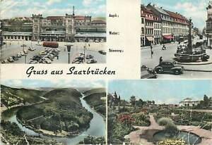 Postcard Germany Gruss aus Saarbrucken multi view 1961 Klein Erich