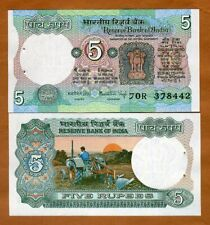 India,  5 Rupees, (1975), P-80i, Letter D, sig. 83, UNC > W/H, Plowing Tractor