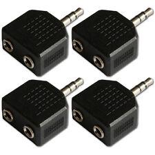 3.5mm Mini Jack Plug to 2 Sockets Stereo Headphone Splitter Adaptor x 4