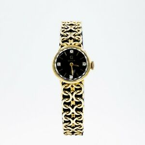 Vintage 14k Yellow Gold OMEGA Ladies Watch 20mm Black Diamond Dial Woven Style