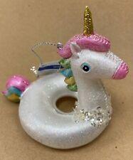 White Unicorn Pool Float Glass Christmas Ornament NWTs
