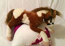 "Brown & White Horse Pinto Hugfun Stuffed Plush Over  9""H x 22""L Laid out"