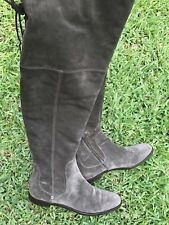 Sergio Rossi Over The Knee Boots 39.5 Gray Suede