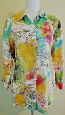 Hot Cotton Shirt Blouse Floral Beach Cruise 3/4 Sleeve Linen Medium
