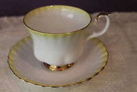 ROYAL ALBERT RAINBOW TEA CUP AND SAUCER YELLOW WITH GOLD TRIM