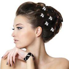 5 Haarnadeln Blätter Perle Hochzeit Strass Tiara Diadem Blume Braut Haarschmuck