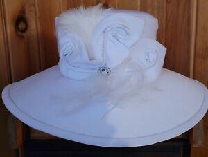 ELEGANT Vintage MILANO  WHITE Derby, Church, Wedding, WIDE Brim Satin top Hat