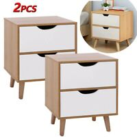 Set of 2 End Bedside Table Wood Nightstand Room Decor with 2 Big Storage Drawer