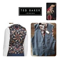 🆕️TED BAKER Men's Wool Suit VEST Waistcoat 40R Blue CIRCUS Elephants London