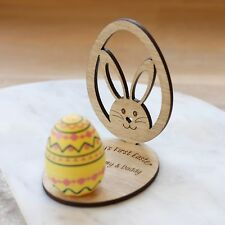 Personalised Easter Keepsake Wooden Ornament Egg & Bunny With Stand,Easter Gifts