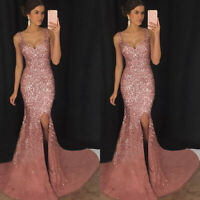 Women Formal Bridesmaid Evening Party Prom Sequins Ball Gown Maxi Cocktail Dress