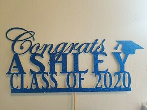 Personalized Congrats Class of 2021 Cake Topper, Custom Graduation Cake Topper