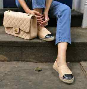 Chanel Beige & Black Espadrilles in Box with Dustbags & Receipt