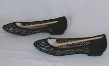 Faith Women's Anas Crochet Ballet Flats Slip-On Shoes Black Size UK 5 / US 7.5